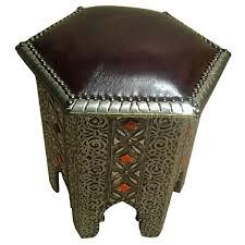 Moroccan Chair Embossing Metal U0026 Leather Stool Moroccan Handicraft Of Marrakesh