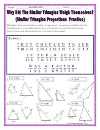 Similar And Congruent Figures Worksheet Similar Triangles Proportions Practice Riddle Worksheet Tpt