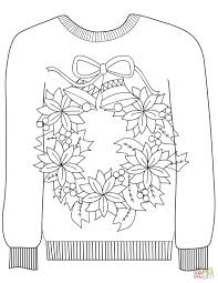 christmas ugly sweater with a teddy bear motif coloring page