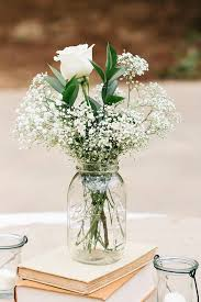 simple centerpieces baby s breath and roses in a jar a simple affordable