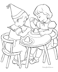 birthday kid coloring pages