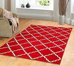 contemporary trellis modern geometric area rug red 635