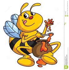 honey and bee funny cartoon stock vector image 47879904