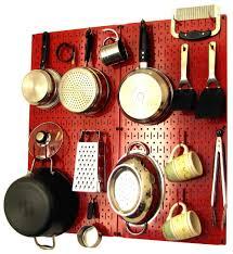 kitchen pegboard organizer kit pots u0026 pans rack red pegboard
