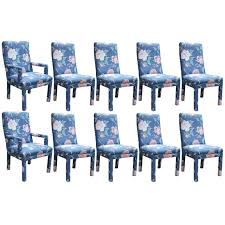 Fully Upholstered Dining Room Chairs Set Of Ten Modern Milo Baughman Style Fully Upholstered Parson