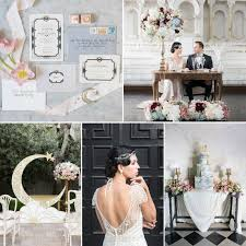 art deco moon wedding inspiration in rose quartz u0026 serenity chic