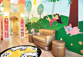 Cartoon Wall Painting In Bedroom In Pursuit Of Childhood Fantasies Three Sweet U0027s Playrooms