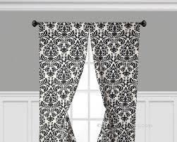 black curtain panels window treatments black floral damask