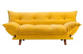 canapé convertible jaune banquette clic clac rembourrée scandinave jaune pièce à vivre