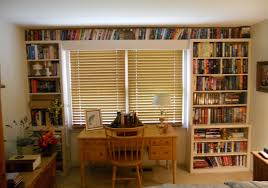 home design creative bookshelves with blinds and wood desk and