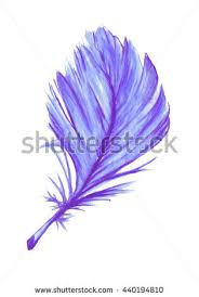 purple feather purple watercolor feather watercolor stock illustration