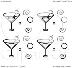 martini glass vector cartoon clipart of a black and white background pattern of martini