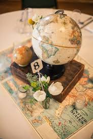 travel themed table decorations a little globe for a destination themed wedding travel wanderlust