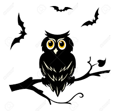 black halloween tree black halloween owl on the branch of tree royalty free cliparts