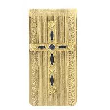 gold dipped symbols of faith 14k gold dipped black cross money clip vintage