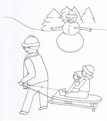 coloring pages winter activities playing on snow winter coloring