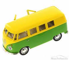 green volkswagen van volkswagen samba bus yellow u0026 green kinsmart 555025m 1 32