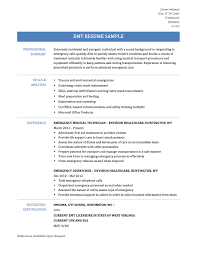 patient care technician resume sample emt resume emt resume samples and templates emergency medical technician
