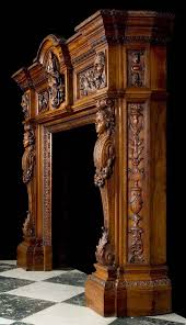 antique fireplace mantel carved walnut in the renaissance manner
