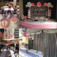 pink and grey baby shower baby shower decorations grey chevron pink and white done by