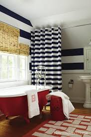 Yarmouth Blue Bathroom Horizontal Stripe Curtains Eclectic Bedroom Stephen Shubel