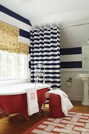 Red White Shower Curtain Batik Blue White Pattern Shower Curtain