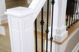 Installing Balusters And Handrails Custom Staircase Newel Post And Wrought Iron Balusters Craftsman