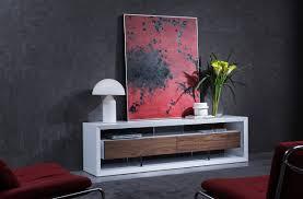 Modern White Tv Table Stand Manvel Contemporary White U0026 Walnut Tv Stand