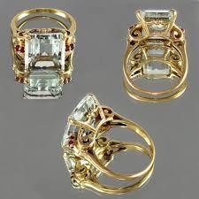large art deco 14k gold 9 05ct emerald cut aquamarine u0026 ruby