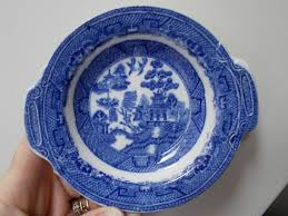 willow pattern jam pot vintage john tams ware staffoedshire blue white finger bowl willow