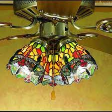 Stained Glass Ceiling Fan Light Shades Hanging Dragonfly Stained Glass Fan Light Shade All