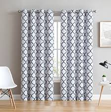 Navy Window Curtains Hlc Me Lattice Print Thermal Insulated Blackout Room