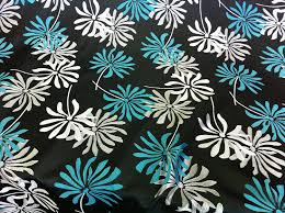 turquoise teal u0026 silver flowers on a black upholstery heavy