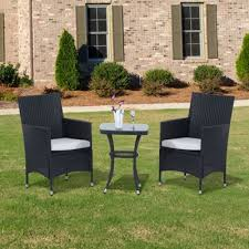 Tesco Bistro Chairs Buy Outsunny 3pc Rattan Bistro Set Furniture Garden Coffee Table