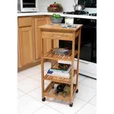 lipper international bamboo kitchen cart with wine rack 8914 the