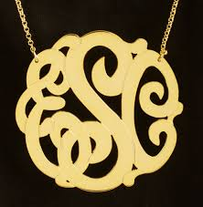 2 inch monogram necklace large gold vermeil monogram necklace 2 inch purple