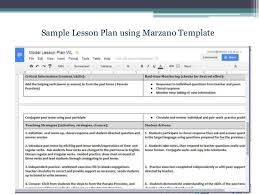 marzano lesson plan template template idea