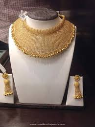 wedding jewelry choker necklace images Broad gold designer choker and earrings jewellery jpg