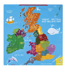 English Channel Map Jura Toys J05484 Janod Magnetic Great Britain And Ireland Map