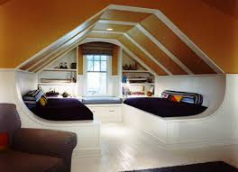 modern attic kids bedroom design with double bed which has within
