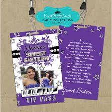 stars purple sweet 16 vip pass invitations