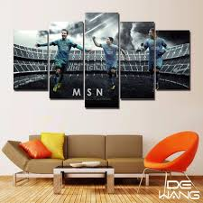 home decor wall pictures 5 panel pictures for wall hd printed painting fc barcelona