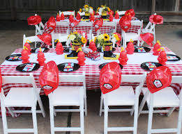 a two alarm fireman birthday party spaceships and laser beams boys fireman themed birthday party dining table ideas