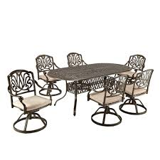 7 Piece Aluminum Patio Dining Set - home styles biscayne black 7 piece patio dining set 4 stationary