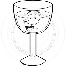 cartoon white wine cartoon wine glass black and white line art by kenbenner toon