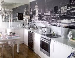 kitchen with a black and white london mural by murals wallpaper co