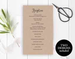 wedding party program reception program etsy
