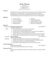 Finance Resumes Examples by Accounts Receivable Clerk Accounting Finance Resume Example