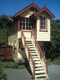 Cottages In New Zealand by A Historic Railway Station Signal Box In Lyttelton New Zealand