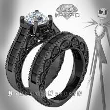 nightmare before christmas wedding ring set 899 etsy